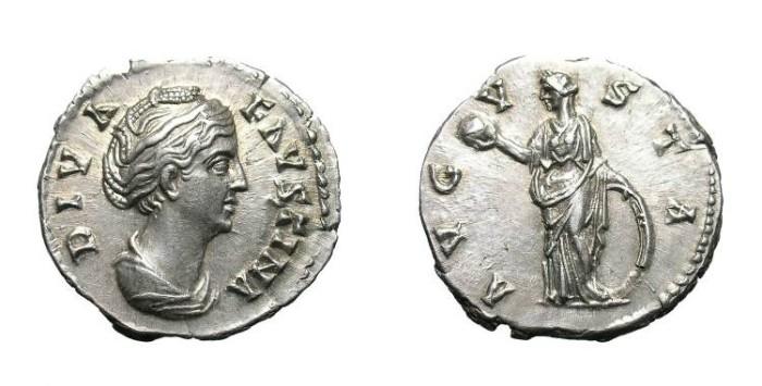 Ancient Coins - FAUSTINA SENIOR. DENAR. LUSTROUS EF. WONDERFUL PORTRAIT !