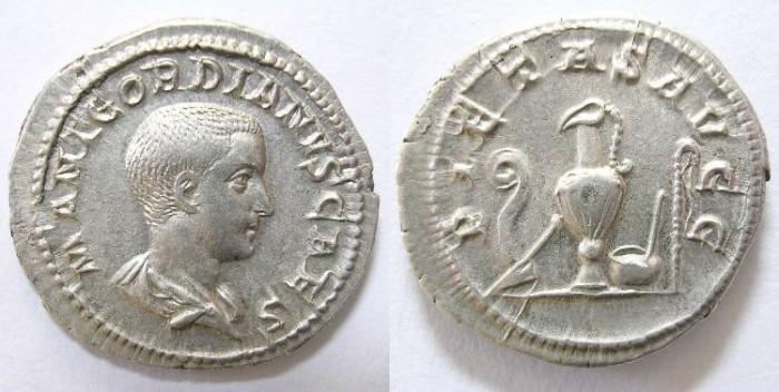 Ancient Coins - GORDIAN  III  (CESAR)  DENARIUS. R/  PIETAS  AUGG.
