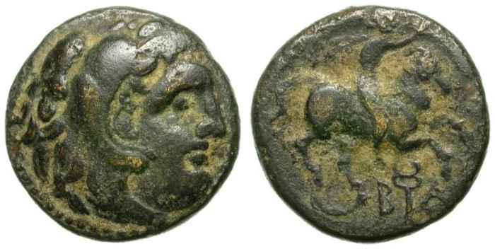 Ancient Coins - ALEXANDER THE GREAT. INTERESTING BRONZE COIN. HORSE & RIDER