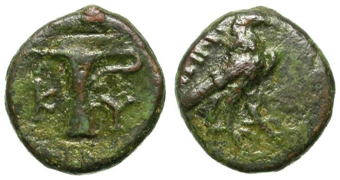Ancient Coins - KYME, AIOLIS. SMALL BRONZE.  AFFORDABLE & INTERESTING.