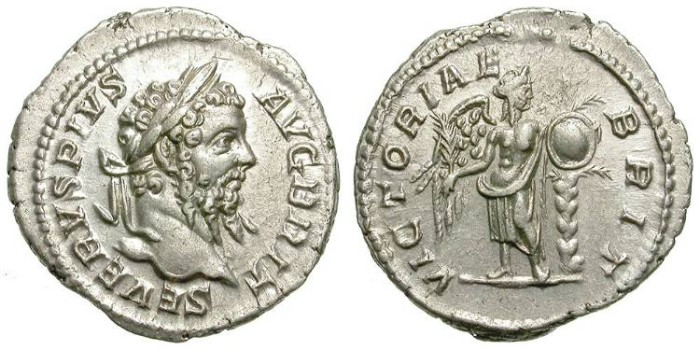 Ancient Coins - SEPTIMIUS SEVERUS. DENAR. EF. VICTORIAE BRITANNICAE. BRITISH REFERENCE ISSUE