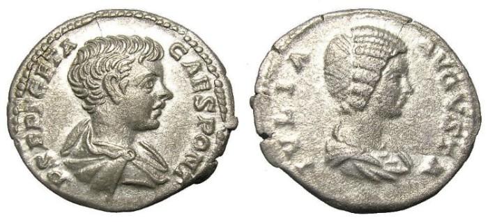 Ancient Coins - GETA  AND  JULIA DOMNA  DENARIUS.  VERY  RARE.