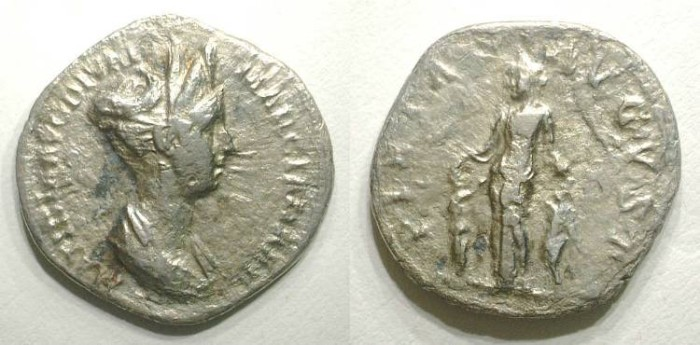 Ancient Coins - MATIDIA. DENAR. GOOD F to VF. VERY RARE ISSUE !