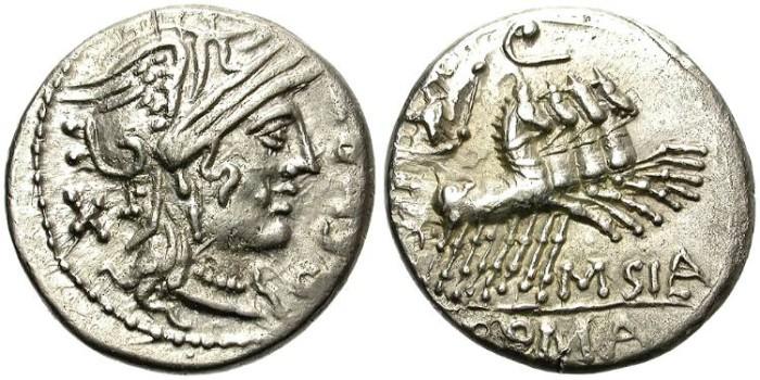 Ancient Coins - ROMAN REPUBLIC. Q. CURTIUS AND IUNIUS SILANUS. AR DENARIUS. ATTRACTIVE OBVERSE.