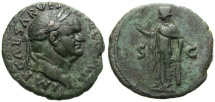 VESPASIAN. AE AS. SPES on REV. ATTRACTIVE DARK GREEN PATINA. NICE PORTRAITURE