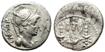 Ancient Coins - OCTAVIAN. SILVER DENARIUS. CAESAR LEGEND BEHIND HELMETED HEAD. COMPETITIVE PRICE.