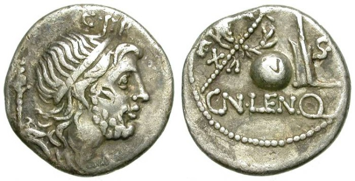 Ancient Coins - ROMAN REPUBLIC. SILVER DENARIUS. CORNELIA 54. NICE TONING