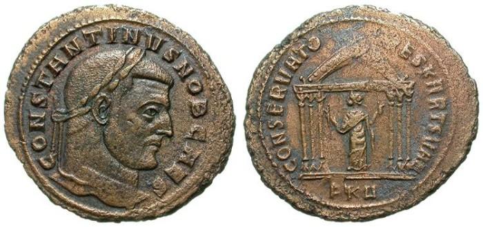 Ancient Coins - CONSTANTINUS I THE GREAT AS CAESAR. FOLLIS. LARGE MODULE. RIVER PATINA