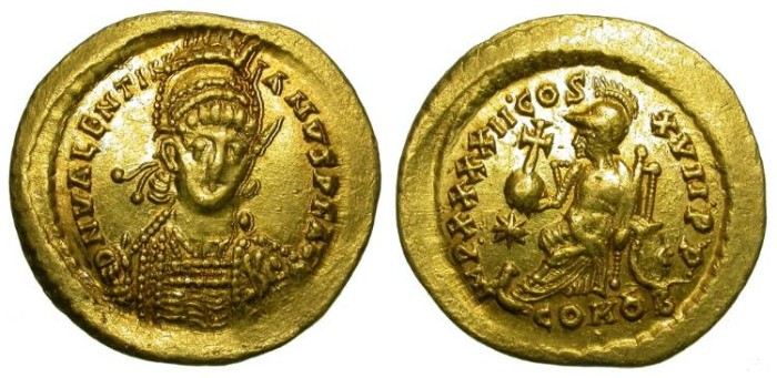 Ancient Coins - VALENTINIAN III. GOLD SOLIDUS. CONSTANTINOPLE. NICE !