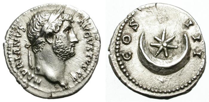 Ancient Coins - HADRIAN. SILVER DENARIUS. STAR & CRESCENT. ROME MINT. VERY NICE