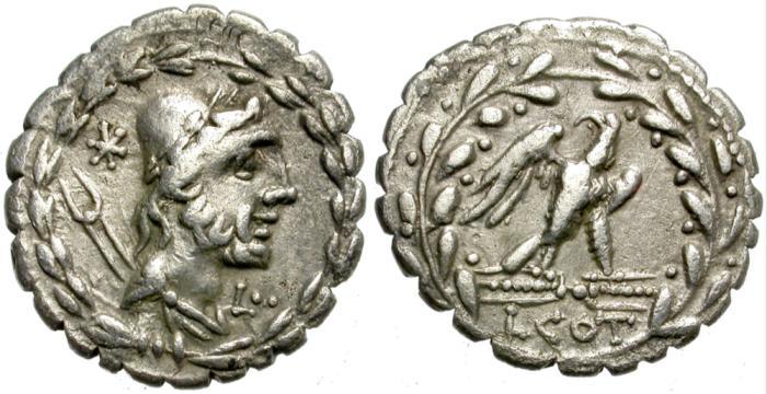 Ancient Coins - ROMAN REPUBLIC. LUCIUS AURELIUS COTTA. 105 BC. SILVER DENARIUS. NICE PORTRAIT OF VULCAN.