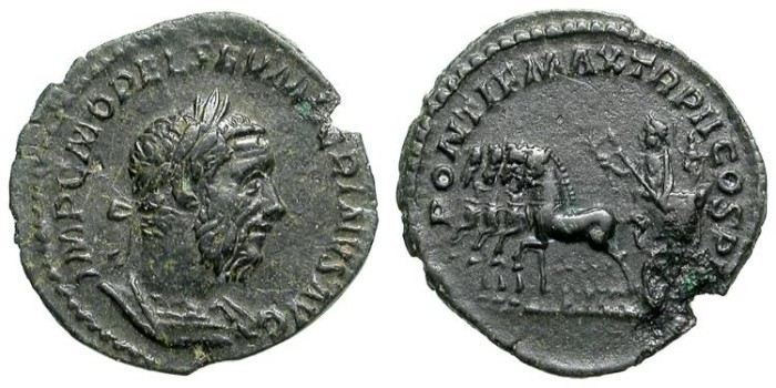Ancient Coins - MACRINUS. AE DENAR. EXTREMELY RARE COUNTERFEIT. LOOK AT ITS REVERSE !
