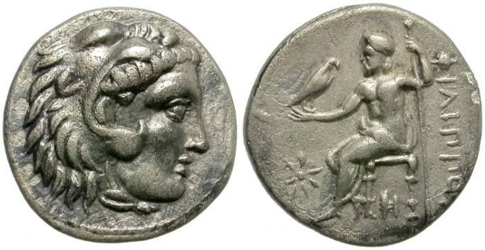 Ancient Coins - PHILIP  III.  MACEDON.  DRACHM. NICE  BUST. INTERESTING  COIN.