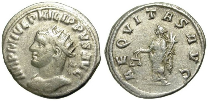 Ancient Coins - PHILIP II. AG ANTONINIAN. RARE & AFFORDABLE LEFT SIDE PORTRAIT