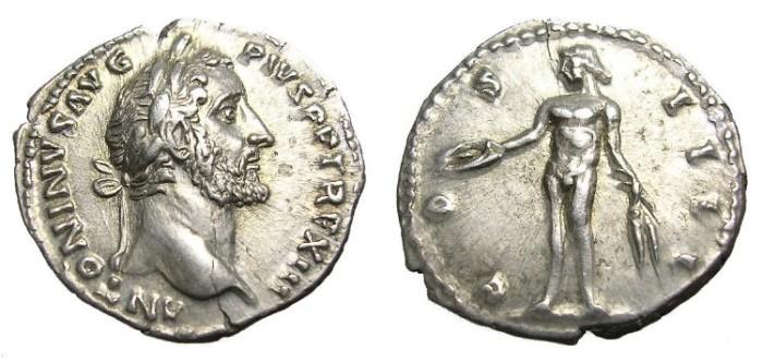 Ancient Coins - ANTONINUS  PIUS  DENARIUS.  GREAT  QUALITY.