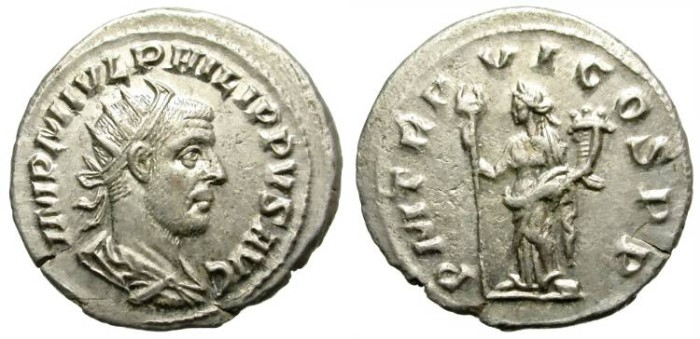Ancient Coins - PHILIP I. AD 244-249. SILVER ANTONINIANUS. ANTIOCH. NICE PORTRAIT. INTERESTING.