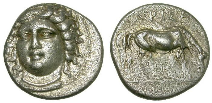 Ancient Coins - LARISSA, THESSALY. SILVER DRACHM. NICE NIMPH DEPICTION.