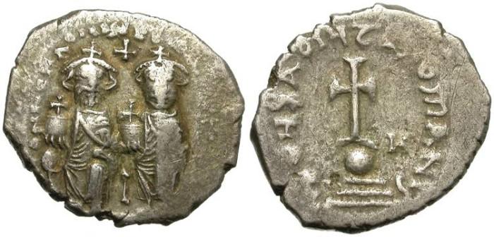 Ancient Coins - HERACLIUS  &  HERACLIUS CONSTANTINUS.  SILVER HEXAGRAM.  SCARCE & INTERESTING. 613-638