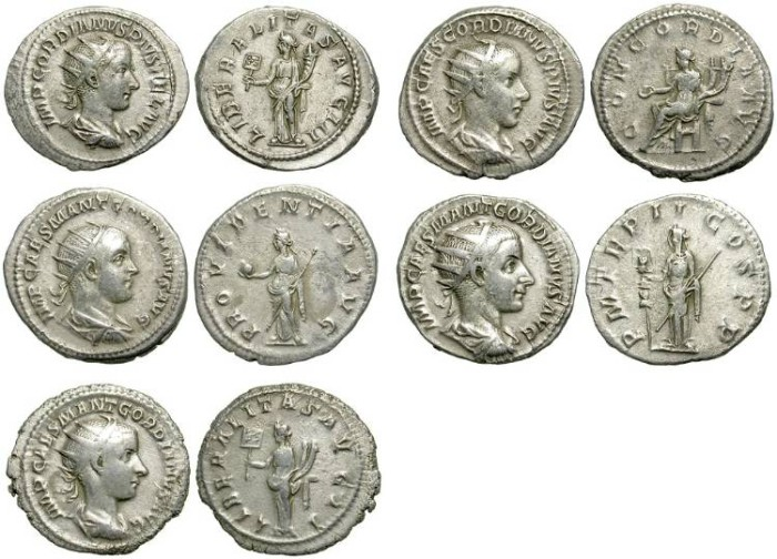 Ancient Coins - LOT OF 5 GORDIAN III ANTONINIANI. NICE CONDITION. VERY INTERESTING GROUP.