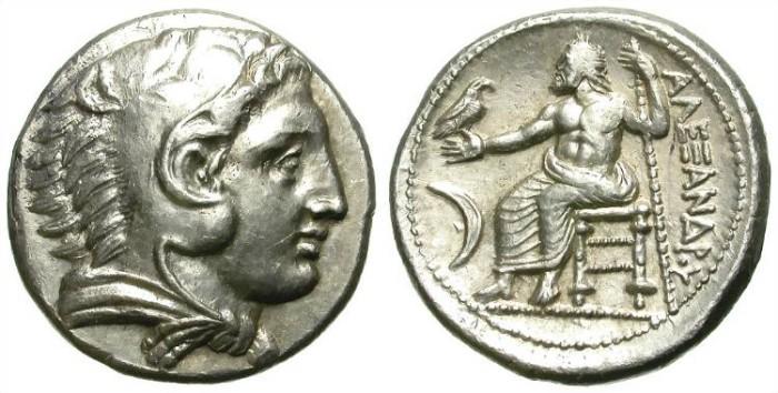 Ancient Coins - ALEXANDER THE GREAT. LIFETIME TETRADRACHM. AMPHIPOLIS (?). CRESCENT. NICE !