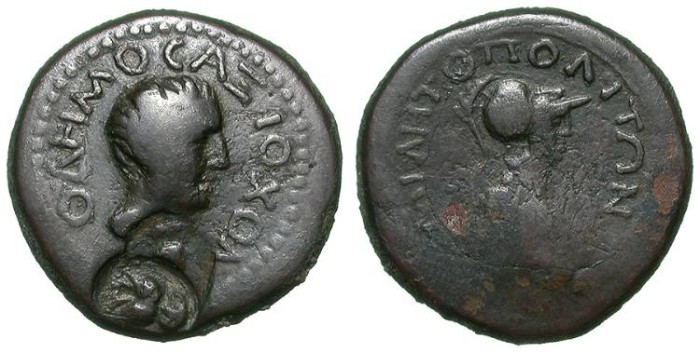 Ancient Coins - PROVINCIAL GREEK AE WITH COUNTERMARKS. MILETOPOLEITON. SO ATTRACTIVE ISSUE !