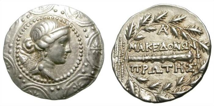 Ancient Coins - MACEDON. TETRADRACHM. UNDER ROMAN RULE. ELEGANT STRIKE!