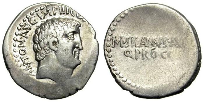 Ancient Coins - MARC ANTHONY. DENAR. RARE. M. SILANUS. NICE !