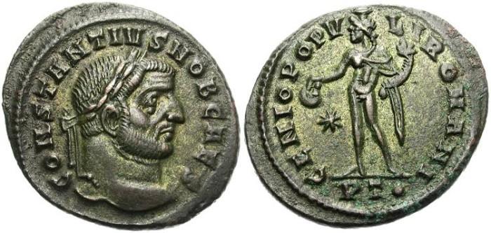 Ancient Coins - CONSTANTIUS CHLORUS. FOLLIS. TICINUM MIINT. STRONG PORTRAITURE