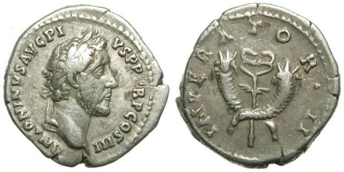 Ancient Coins - ANTONINUS PIUS. SILVER DENARIUS. CADUCEUS & CORNUCOPIES: VERY ATTRACTIVE REVERSE