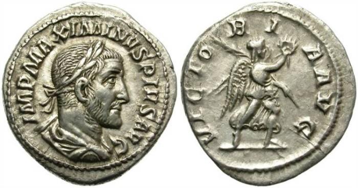 Ancient Coins - MAXIMINUS. SILVER DENARIUS. NICE PORTRAIT. VICTORIA AUG.