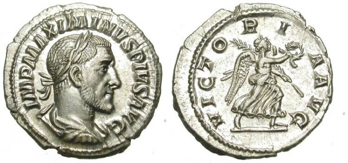 """Ancient Coins - MAXIMINUS. SILVER DENAR. """"VICTORIA"""" ON REVERSE. VERY NICE ISSUE."""