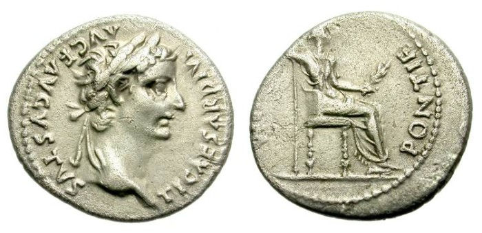 Ancient Coins - TIBERIUS. TRIBUTE PENNY. SILVER DENARIUS. EMBLEMATIC BYBLICAL COIN.