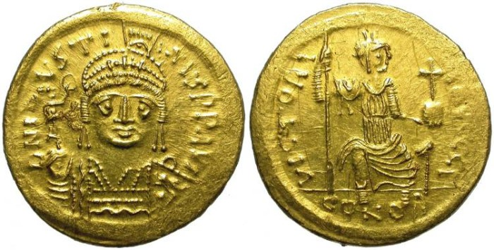 Ancient Coins - BIZANCE. GOLD SOLIDUS. JUSTINUS II. VERY ROUND STRIKE.