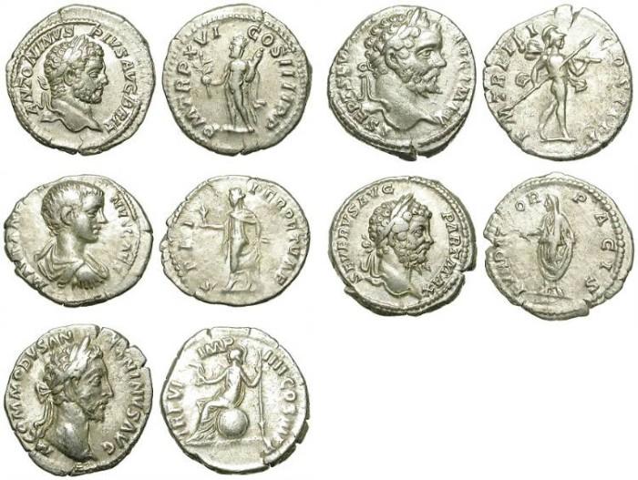 Ancient Coins - INTERESTING LOT OF 5 ROMAN DENARI. GOOD SILVER /2