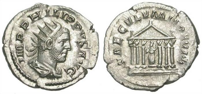 Ancient Coins - PHILIP I ARAB. SILVER ANTONINIAN. EF. NICE SPECIMEN W/ TEMPLE ON REVERSE