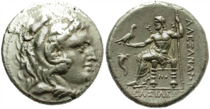 Ancient Coins - ALEXANDER THE GREAT. SILVER TETRADRACHM. CORINTH MINT. CORNUCOPY ON REVERSE
