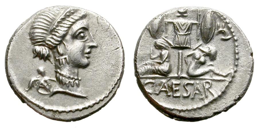 Ancient Coins - JULIUS CAESAR. SILVER DENARIUS. VENUS & EROS ON OBV. GREAT SILVER CONDITION. SO NICE