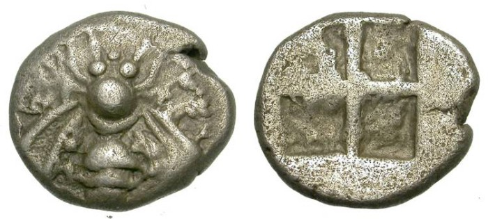 Ancient Coins - EPHESUS. SILVER DRACHM. ARCHAIC PERIOD. SUCH AN ATTRACTIVE BEE
