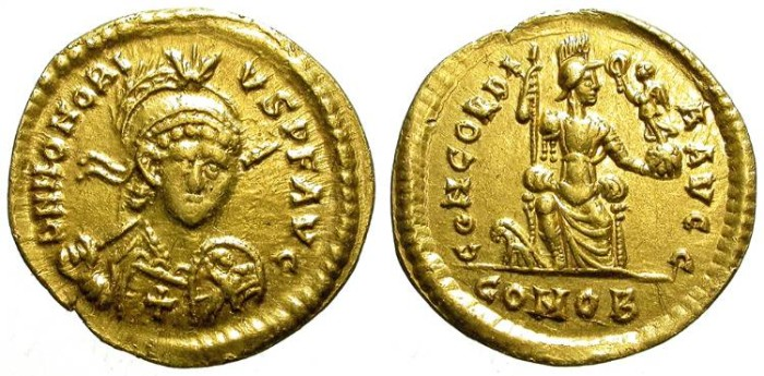 Ancient Coins - HONORIUS. SOLIDUS. A EF. VERY RARE SPECIMEN W/ CROSS IN CHEST. THESSALONICA.