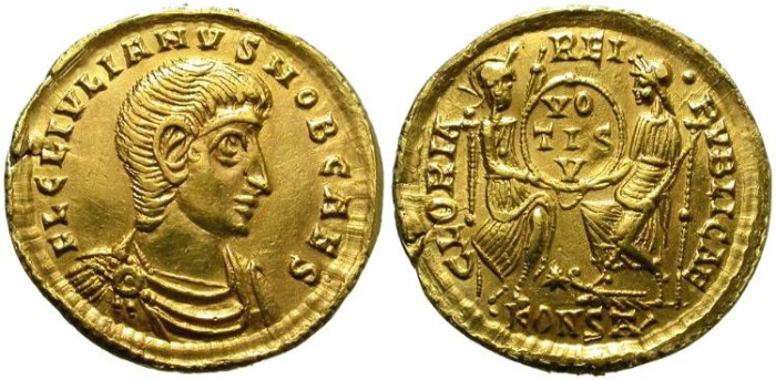 Ancient Coins - IULIANUS II APOSTATA. VERY RARE. GOLD SOLIDUS AS CAESAR. POSSIBLY EX-MOUNTED AS JEWEL BUT STILL NICE