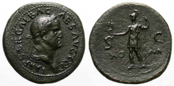 Ancient Coins - GALBA. SAESTERZ. VERY RARE. ATTRACTIVE LARGE BRONZE ISSUE