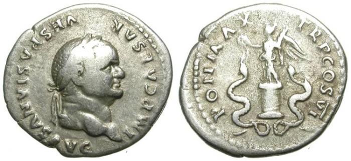 Ancient Coins - VESPASIAN. DENAR. VF. SUCH AN UNFREQUENT REVERSE !