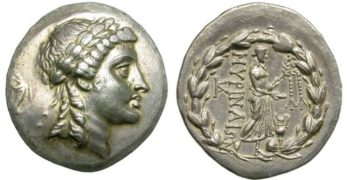 Ancient Coins - MYRINA,  AIOLIS.  TETRADRACHM. 155 - 145 B. C.  WONDERFUL  APOLLO  PORTRAIT.