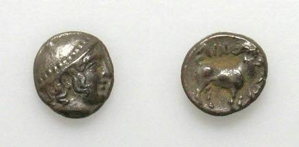 Ancient Coins - AINOS. OBOL. EF. NICE TONING. BEAUTIFUL ISSUE!