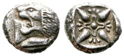 Ancient Coins - MILET, IONIA. SILVER DIOBOL. LION HEAD & INCUSE SQUARE. ATTRACTIVE ISSUE