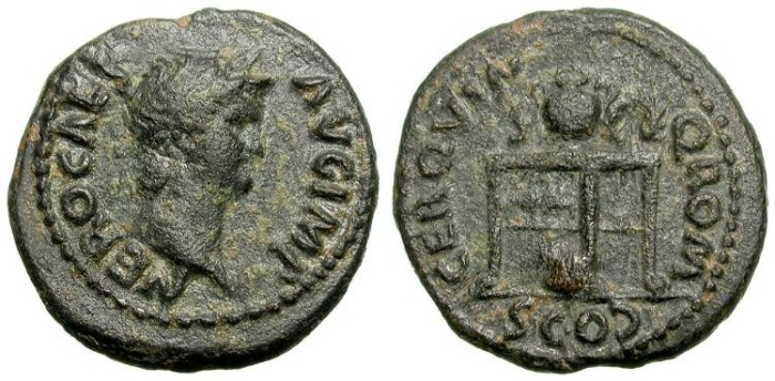 Ancient Coins - NERO. SEMIS. NICE DARK GREEN PATINA. RARE. Ludi Quinquennales - Neronia