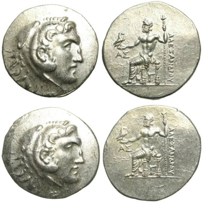 Ancient Coins - ALEXANDER THE GREAT. 2 SILVER TETRADRACHMS OUT OF THE SAME DIES ! ASPENDOS MINT