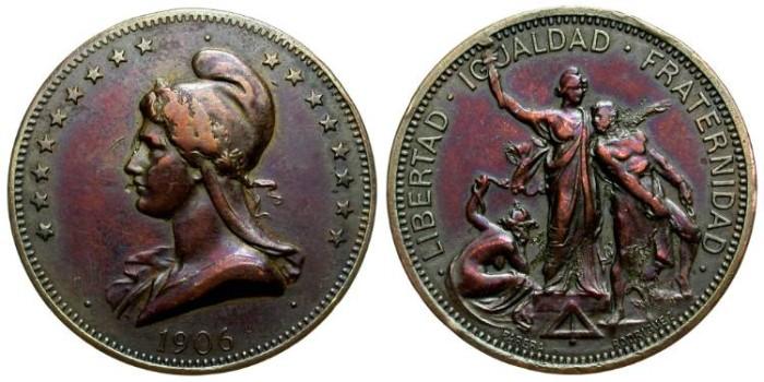 World Coins - MASONIC MEDAL. 1906. COUNCIL OF SARAGOSSA, SPAIN. SILVER PLATED BRONZE. WONDERFUL IRIDISCENT PATINA