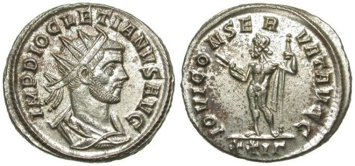 Ancient Coins - DIOCLETIAN. AE ANTONINIANUS. PRACTICALLY WITH FULL SILVERING. SPECTACULAR CONDITION!