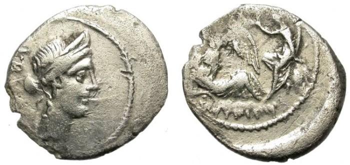 """Ancient Coins - """"SULLA´S DREAM"""". ROMAN IMPERATORIAL SILVER DENARIUS. L. AEMILIUS BUCA. EXTREMELY RARE !"""